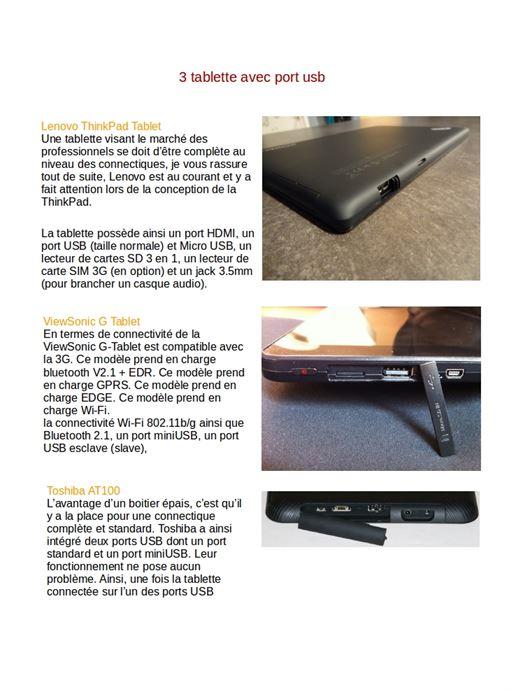 3 tablette avec port usb branche technologie - Tablette tactile avec port usb ...