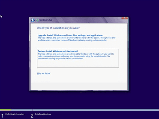 comment installer windows 8 6
