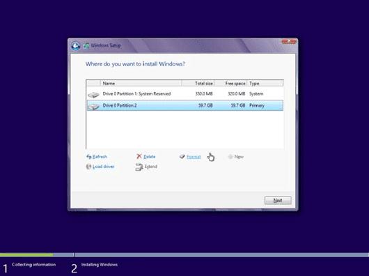 comment installer Windows 8 sur Windows 7 64 bits